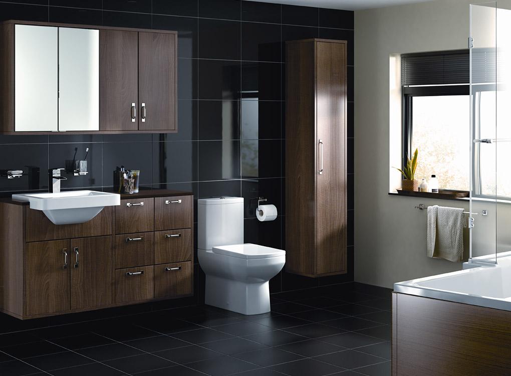 Eleganckie kontrasty serii caspian od cooke lewis - Poubelle salle de bain noire ...